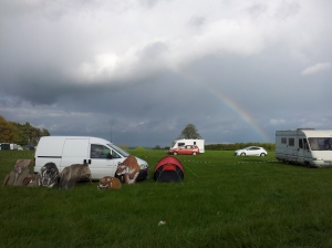 Rainbow over campsite
