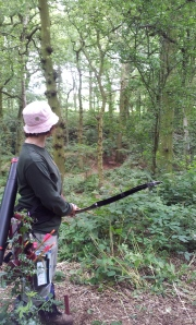 Sharon shooting bedded deer in the afternoon.