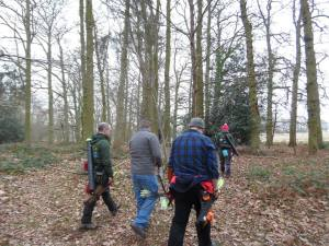Archers walking in the woods