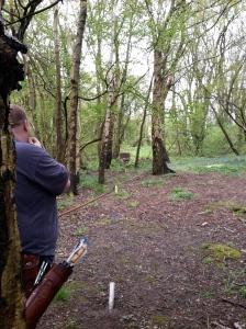 3D target behind tree stump