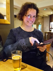 Sharon celebrating her win in the bar on Sunday night.