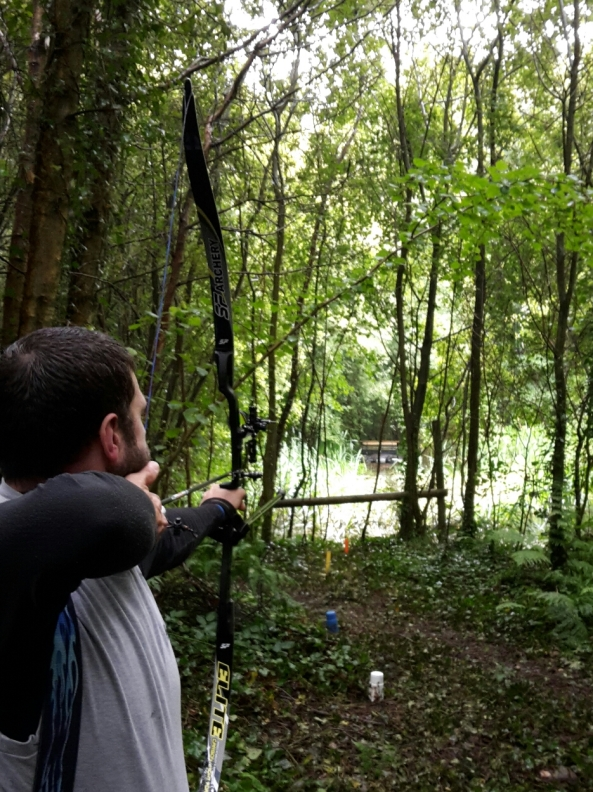 Nathan shooting 3D crocodile on Saturday across pond