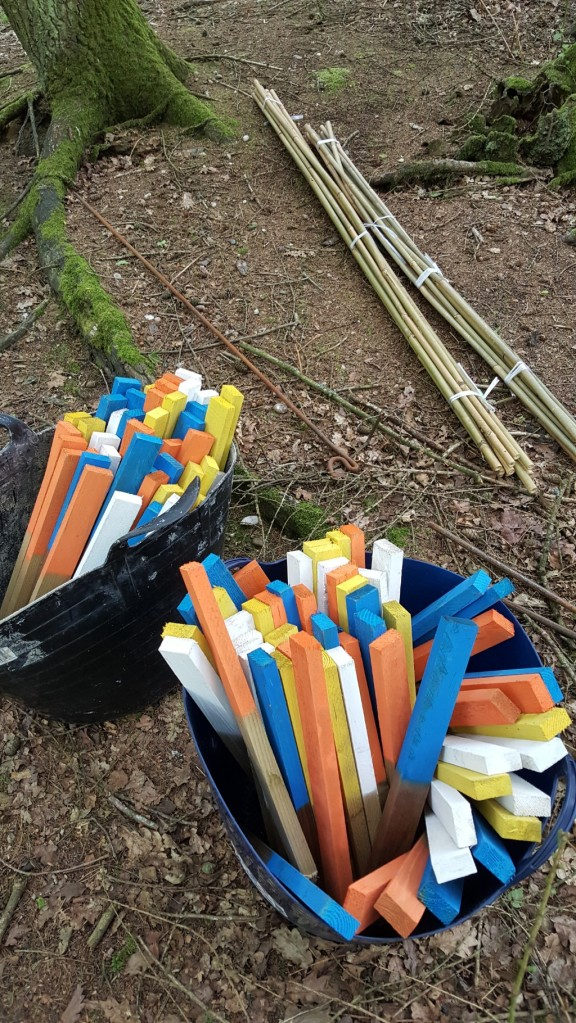 Shooting pegs ready to go out on A course