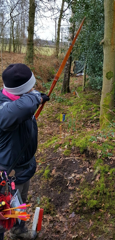 Sharon shooting a 3D target at Paget de Vasey
