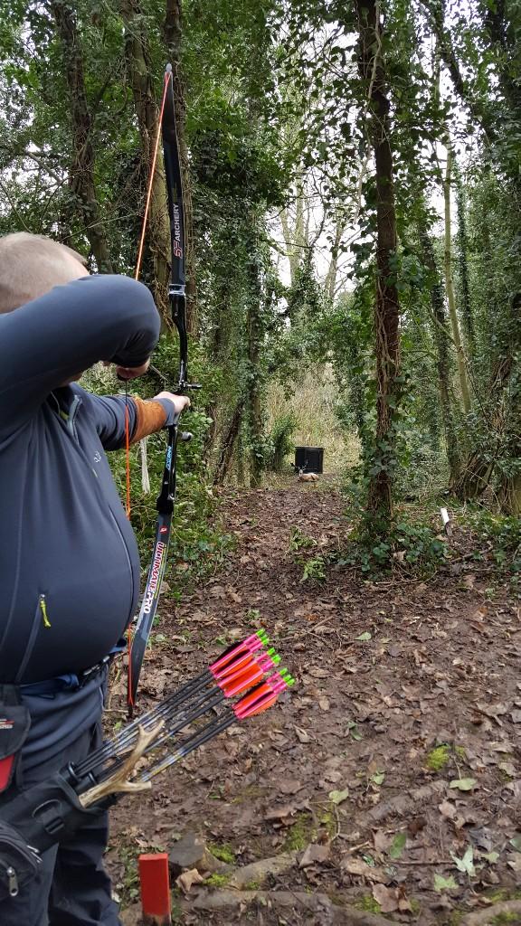 Andrew shooting 3D bedded deer target