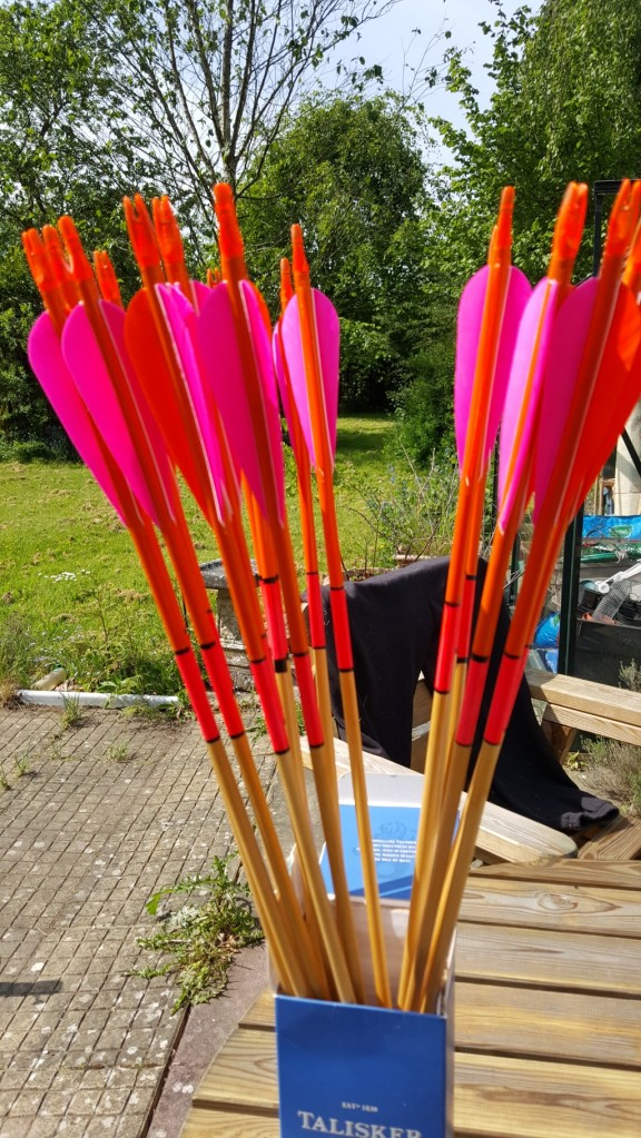 Finished arrows in the sun