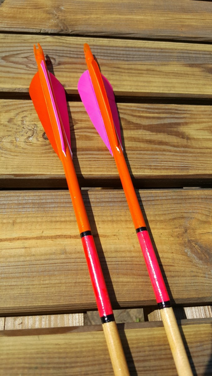 Close up of a couple of finished arrows