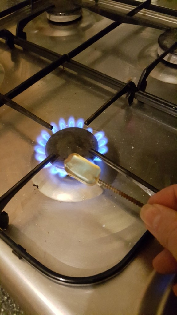 Hot-melt glue softening over gas ring