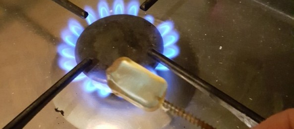 Hot-melt glue softening over gas ring