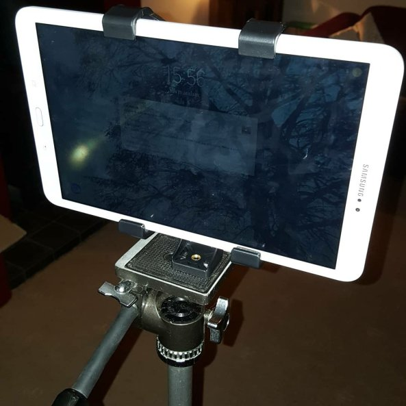 another view of tablet on tripod